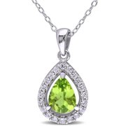 1-3/5 Carat T.G.W. Peridot and Created White Sapphire Sterling Silver Halo Teardrop Pendant, 18