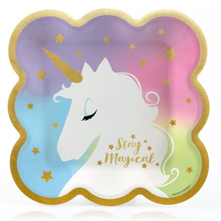 Unicorn with Gold Foil - Magical Rainbow Unicorn Baby Shower or Birthday Party Dinner Plates (16 Count)](Rainbow Birthday Plates)