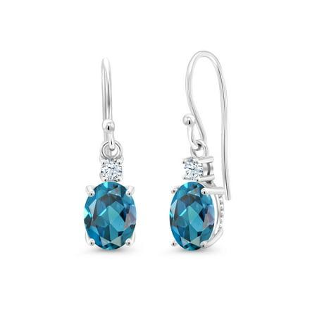 2.70 Ct Oval London Blue Topaz White Created Sapphire 10K White Gold Earrings Citrine & Sapphire Round Earrings