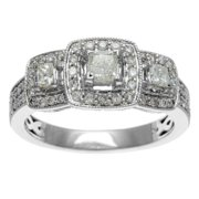 Sofia  14k White Gold 1ct TDW IGL Certified Three Stone Princess Cut Diamond Engagement Ring