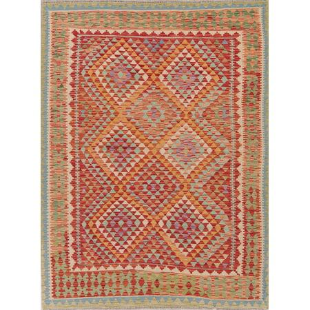 70s Wool (Turkish Oriental Kilim Flatweave Hand Woven Area Rug Wool 6x8)