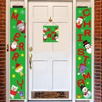 Merry Christmas Banners, Front Door Welcome Christmas Red Porch Sign Hanging Banner Xmas Decorations for Wall Door Curtain Home Party