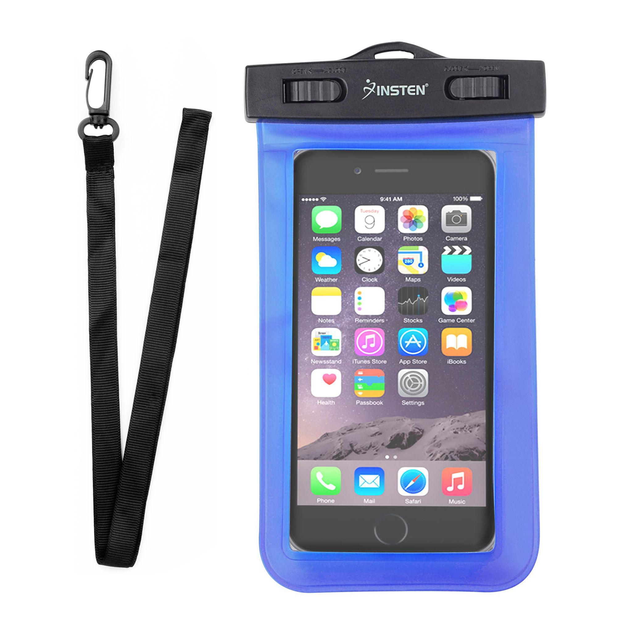 Insten Blue Waterproof Bag Carrying Case Pouch (6.5 x 3.9 inches) with Lanyard & Armband for iPhone XS Max XR XS X 8 7 6 6S+ 5S Samsung Galaxy S9+ S8 J7 ZTE ZMax Pro Universal -up to 3 meter