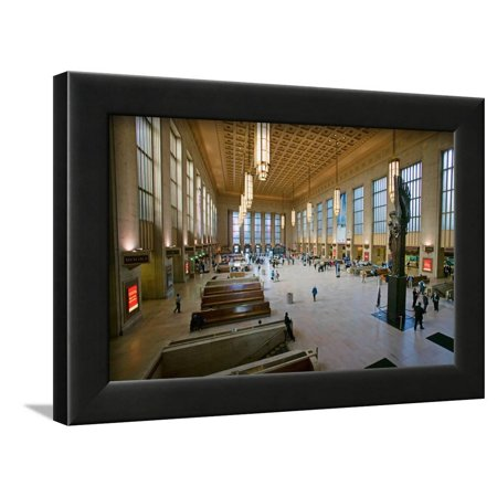 Interior view of 30th Street Station, a national Register of Historic Places, AMTRAK Train Stati... Framed Print Wall Art