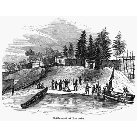 Roanoke Colony C1587 Nthe Settlement At Roanoke Island North Carolina C1587 Wood Engraving American 19Th Century Poster Print By Granger Collection