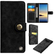 Faux Suede Leather Wallet with Detachable Magnetic Case for Samsung Galaxy Note 8 - Black