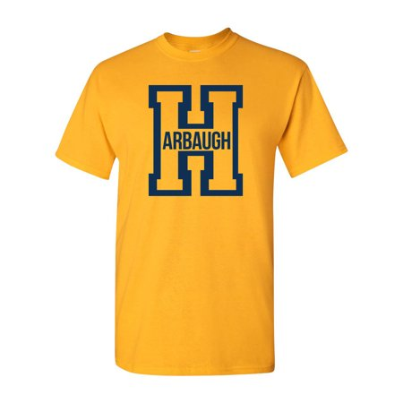 Harbaugh Big Letter H Football Michigan Adult T-Shirt (Outlet Stores Michigan City)