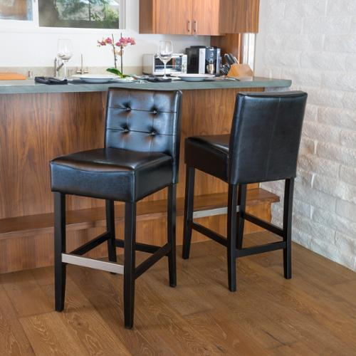 Christopher Knight Home Tate Tufted Leather Back Bar Stools (Set of 2) Tate Ivory Leather Back Bar Stool (Set of 2)