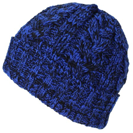 Best Winter Hats - Best Winter Hats Womens Variegated Cable Knit Messy  Bun Ponytail Cuffed Beanie - Blue Black - Walmart.com 8468162abe9