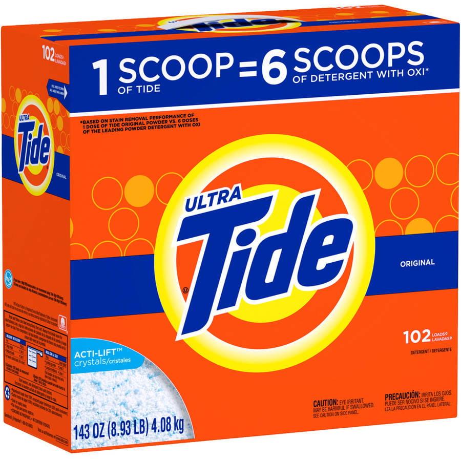 Tide Ultra Original Scent Powder Laundry Detergent, 102 Loads, 143 oz