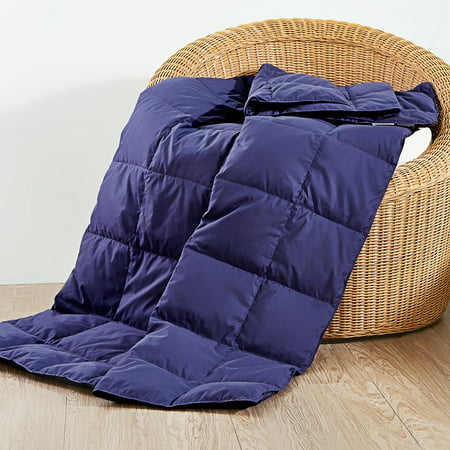 Peace Nest Natural Down and Feather Blanket/Throw, Navy Blue,