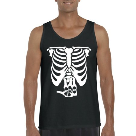 White Skeleton w Beers Gift for Halloween Costume Party Match with Masks Mens Tanks - Skeleton Costumes For Men
