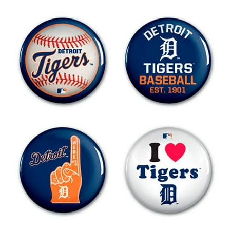 Detroit Tigers WinCraft 4-Pack Button Set - No Size
