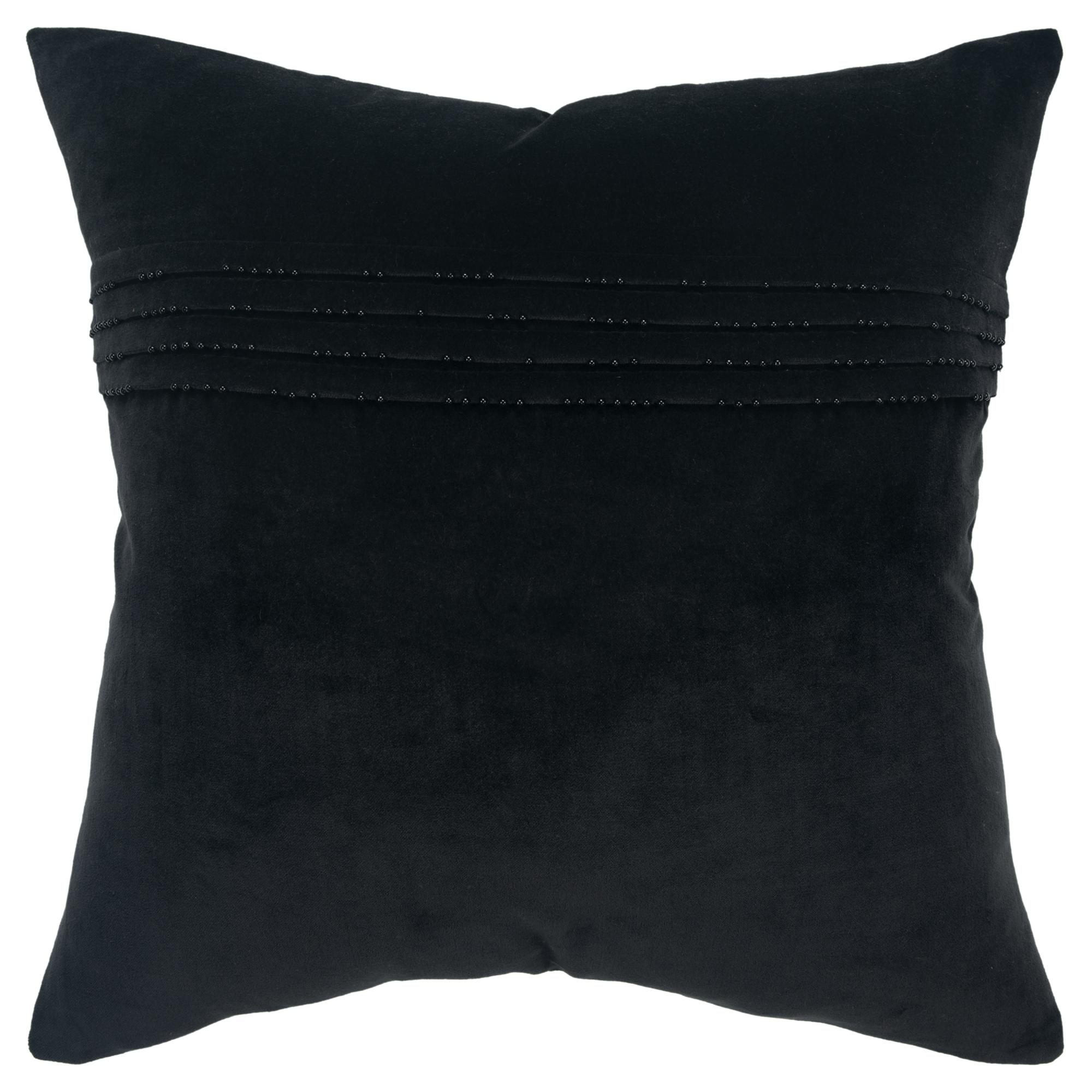 """Rizzy Home Decorative Downfilled Throw Pillow Solid 20""""X20"""" Black"""