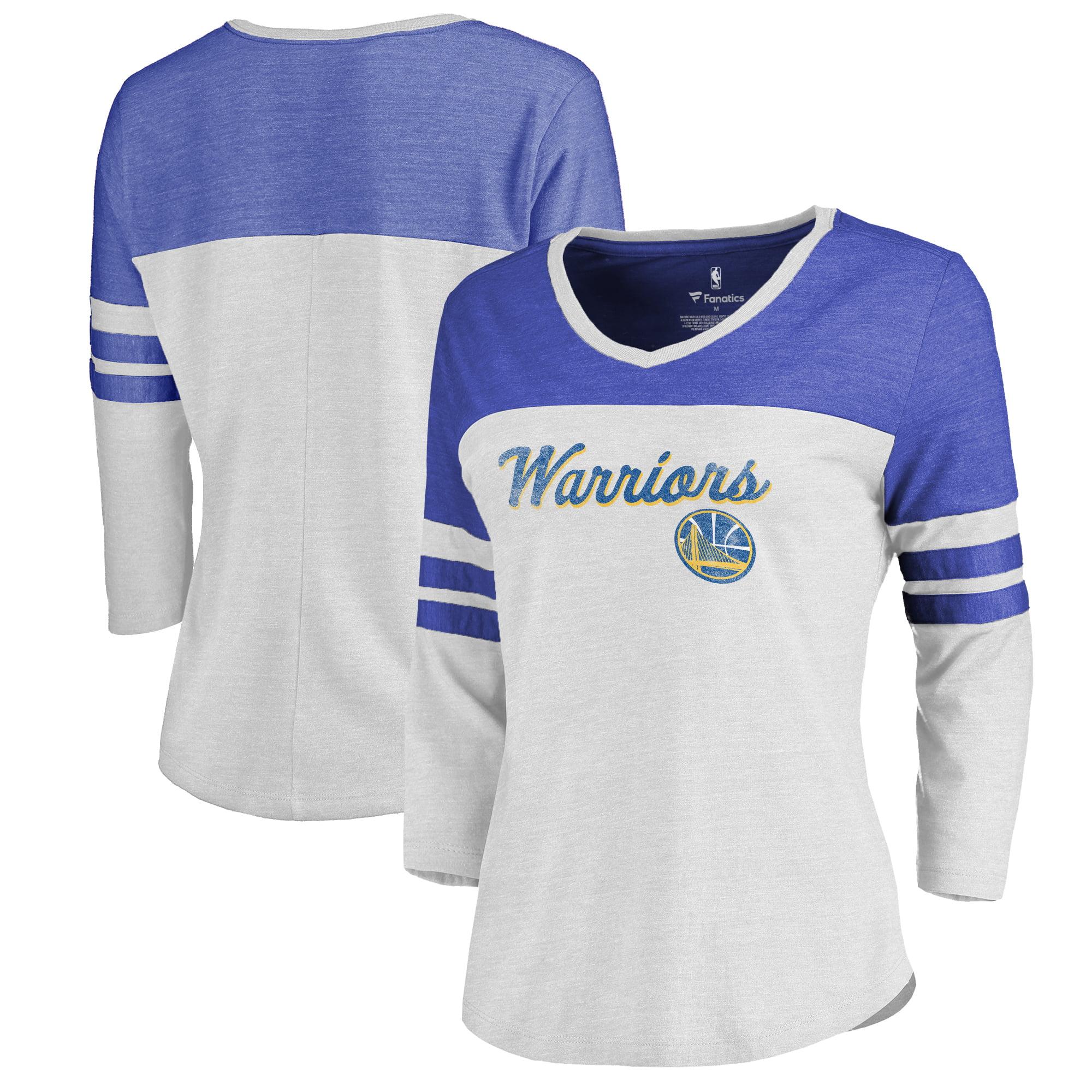 Golden State Warriors Fanatics Branded Women's Rising Script Plus Size Color Block 3/4 Sleeve Tri-Blend T-Shirt - White