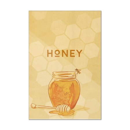 Honey Jar - Letterpress - Lantern Press Artwork (12x18 Acrylic Wall Art Gallery Quality)
