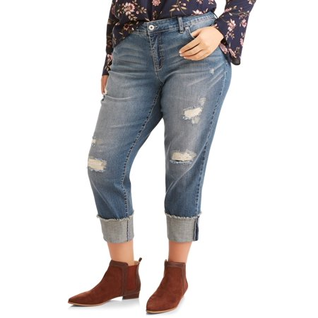 68a2c8d0dc2 faded glory womens plus boyfriend jeans with destruction and raw cuffed hem