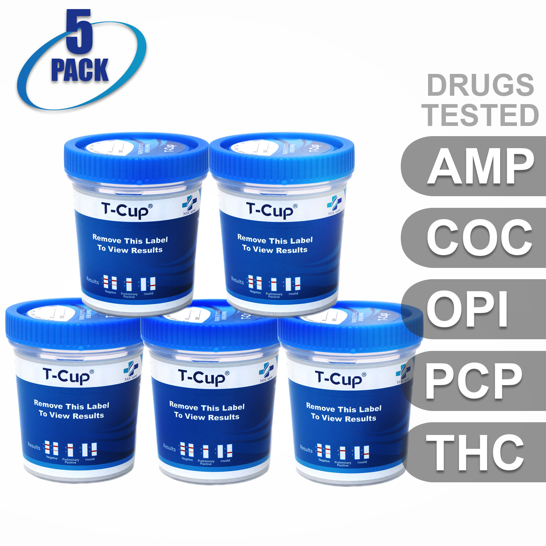MiCare [5pk] - 5-Panel T-Cup Instant Urine Drug Test (AMP/COC/OPI/PCP/THC) #MI-TDOA-154