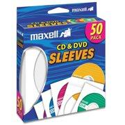 Maxell 190135 CD/DVD Storage Sleeves, 50pk, White