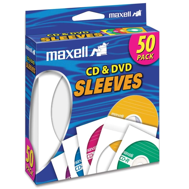 Maxell 190135 CD/DVD Storage Sleeves, 50pk, White