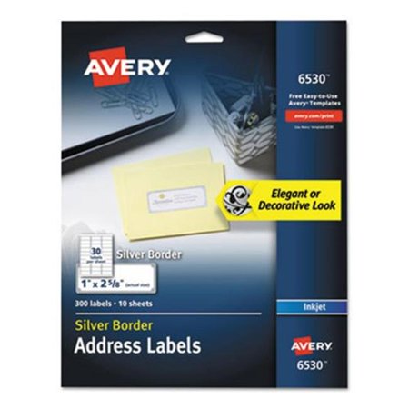 Avery Dennison 6530 Easy Peel Address Labels with Border, Silver