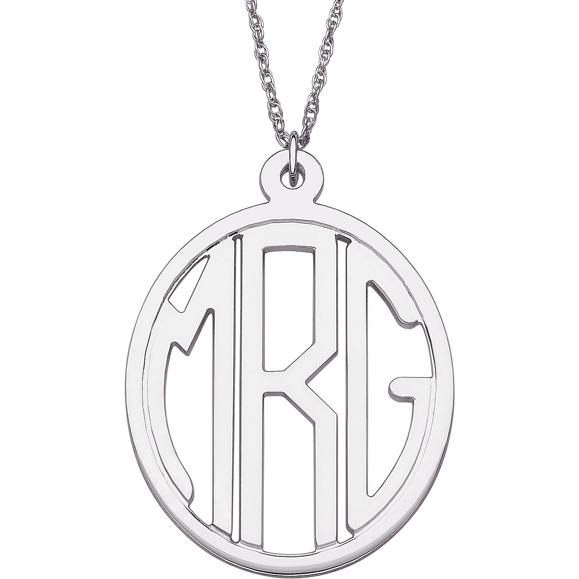 Personalized Sterling Silver Tailored Oval Monogram Necklace