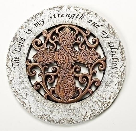 The Lord is My Strength Bronze Cross 12 inch Resin Stone Decorative Stepping Stone