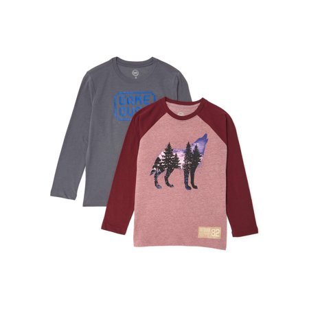 Wonder Nation Boys Graphic Long Sleeve T-Shirt 2-Pack Sizes 4-18 & Husky
