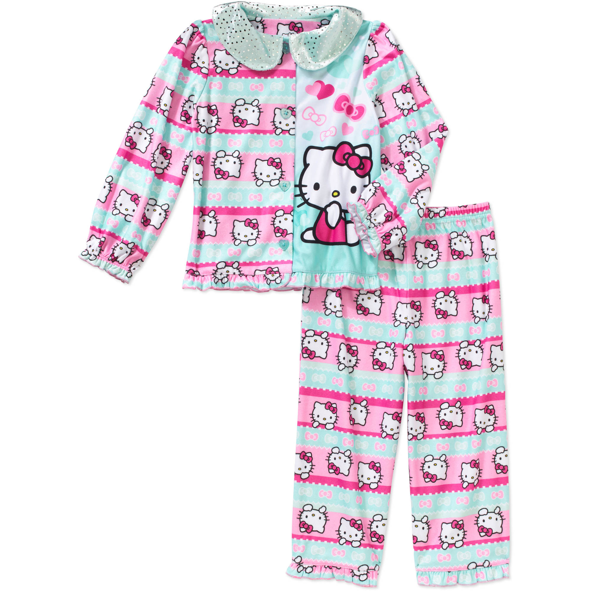 Hello Kitty Toddler Girls' Button Down Pajama 2-Piece Set