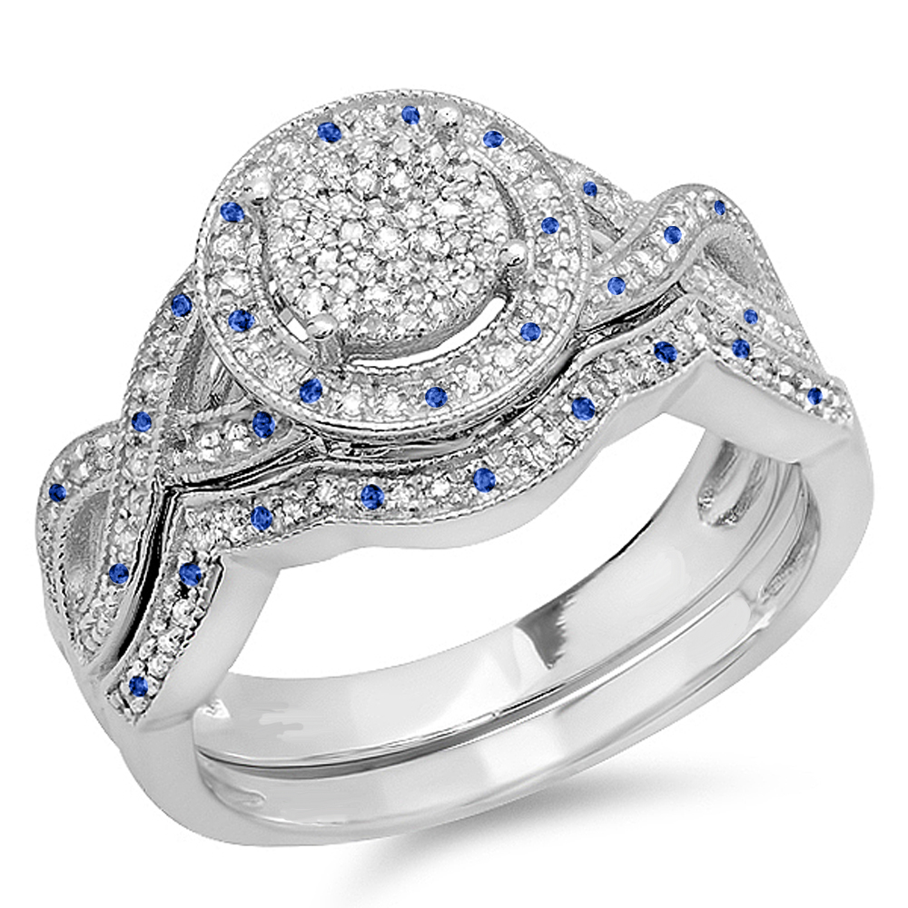 Sterling Silver Blue Sapphire & White Diamond Womens Engagement Ring Set