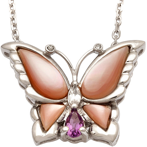 Diamond Accent, Pink Mother of Pearl, Amethyst and White Topaz Sterling Silver Butterfly Pendant, 18""