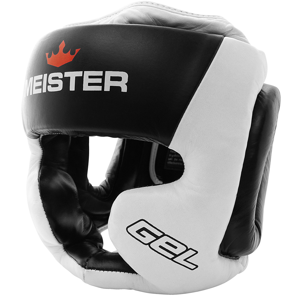 Meister Gel Full-Face Training Head Guard for MMA, Boxing & Muay Thai - White/Black/Red - Small / Medium