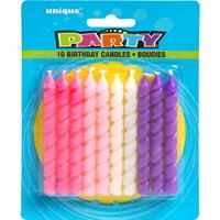 Spiral Birthday Candles, Pink & Purple, 10ct