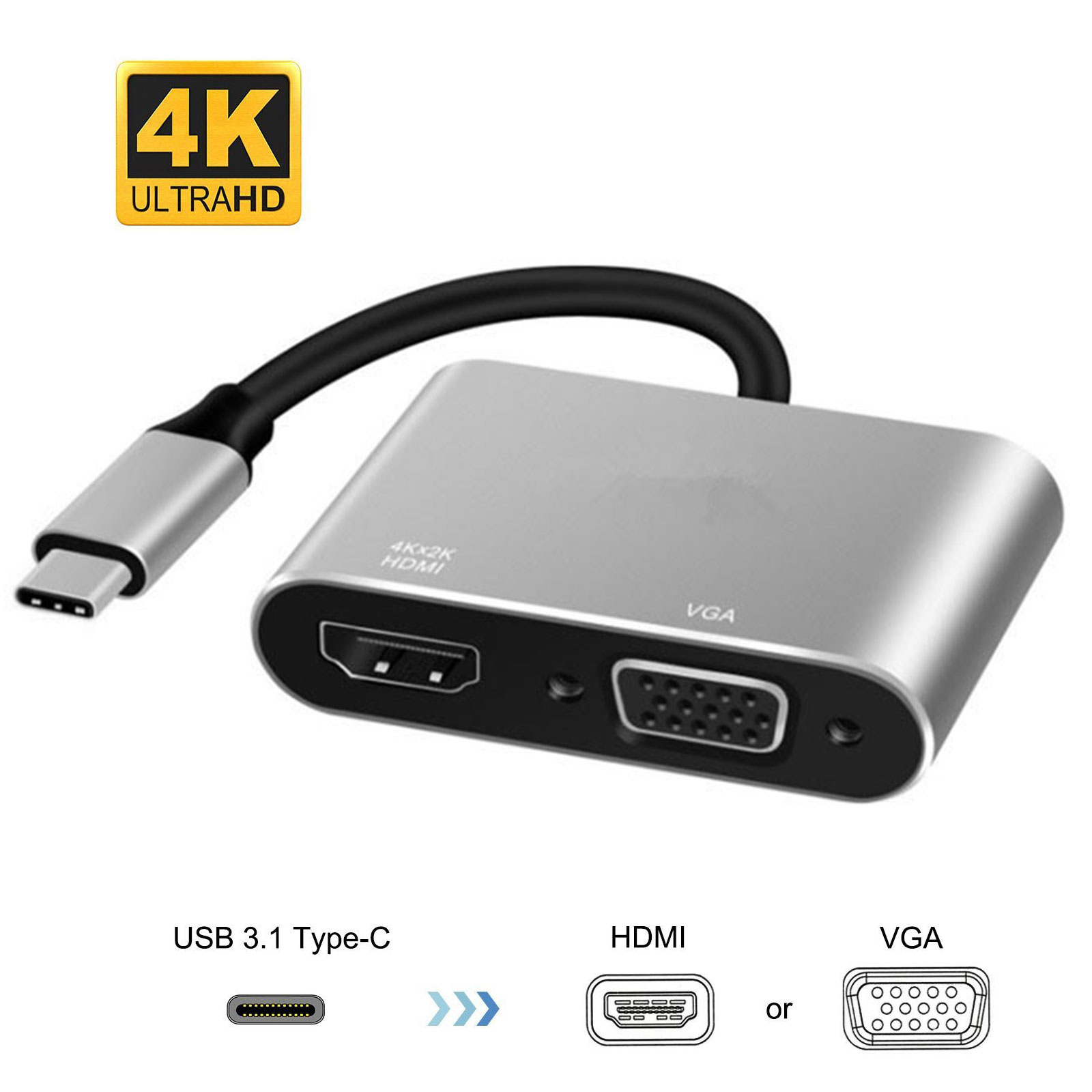 EEEkit USB-C USB 3.1 Type C to HDMI & Vga Adapter Converter 4K 1080P For Macbook, Chromebook, Samsung PC, Supports Galaxy S9/S8/S8+/ Note 8/ LGG5