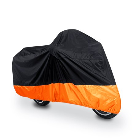 XL 180T Rain Dust Motorcycle Cover Black+Orange Outdoor Waterproof UV (Half Cover Motorcycle Covers)
