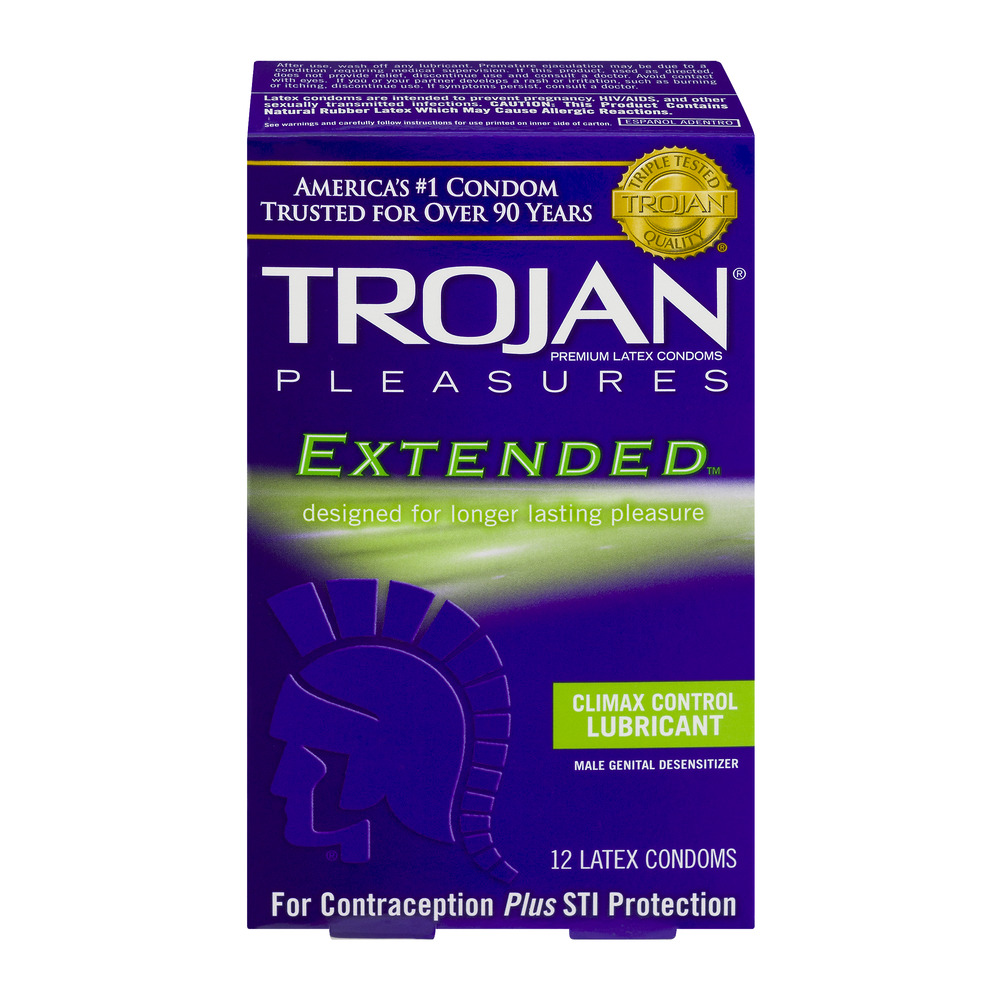 Trojan Premium Latex Condoms Pleasures Extended - 12 CT