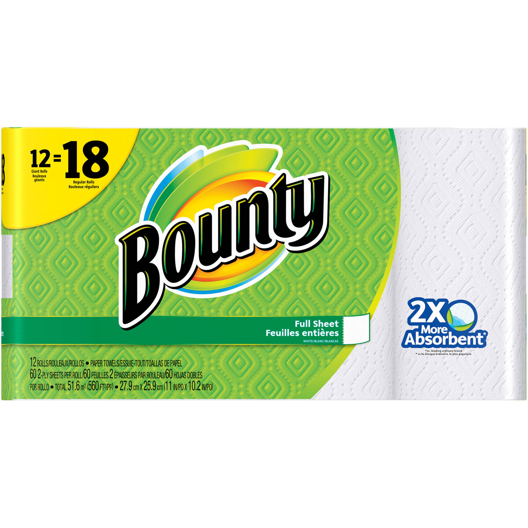 Bounty Giant Roll Paper Towels, 60 sheets, 12 rolls