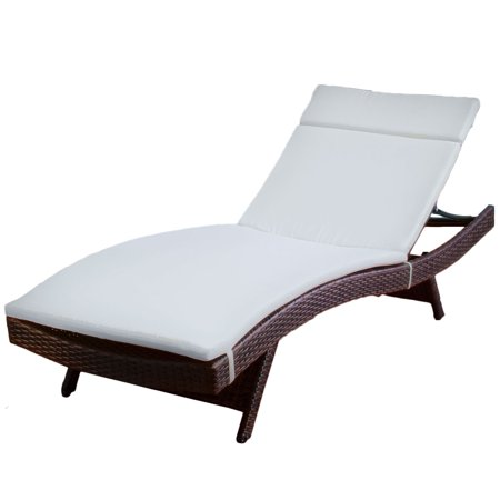 Outdoor brown wicker adjustable chaise lounge with beige for Brown chaise lounge outdoor