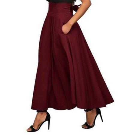 44763ed53 Urkutoba - Urkutoba Vintage Women Stretch High Waist Plain Skater Flared Pleated  Long Skirt Dress - Walmart.com