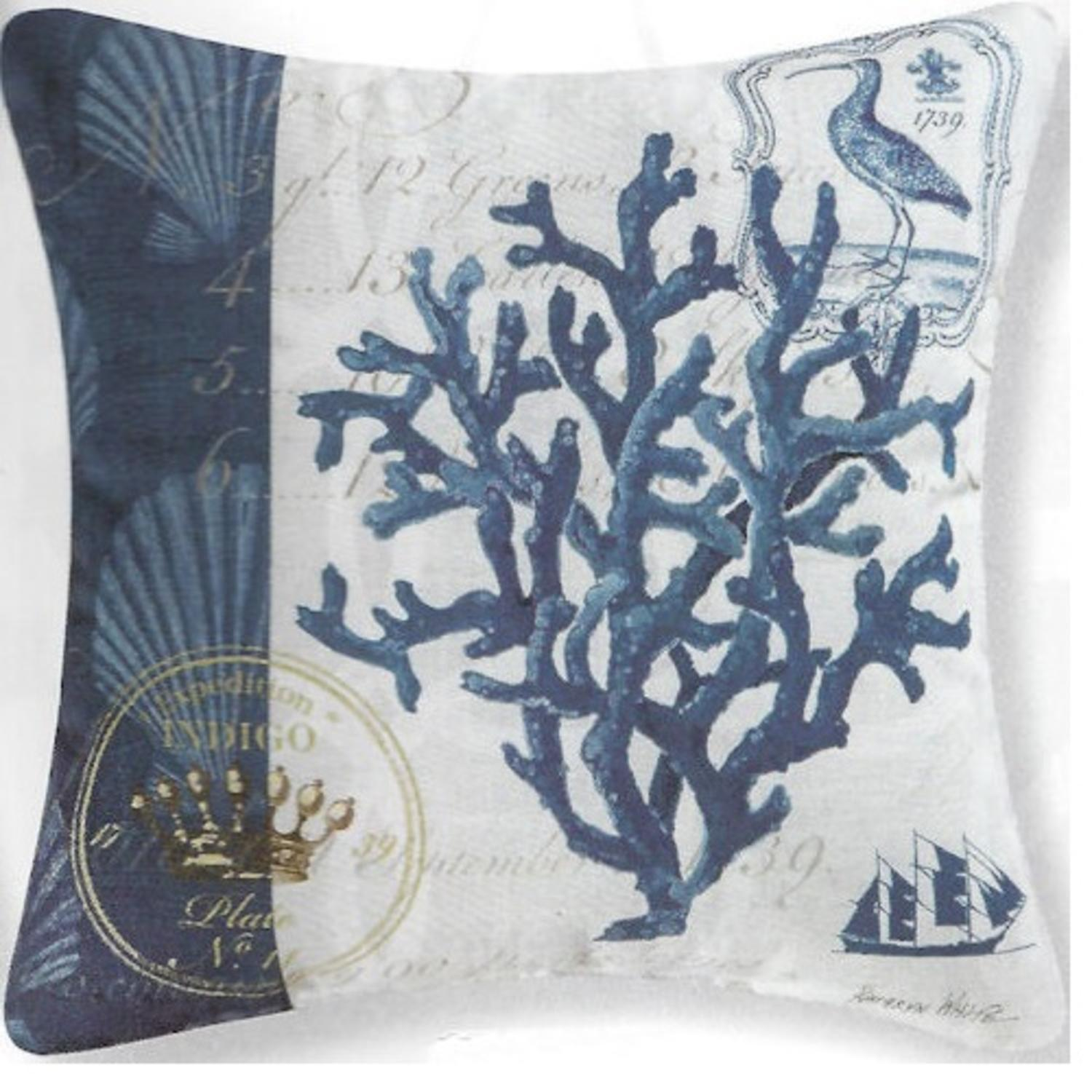 "18"" Decorative Indigo Coral Reef Square Outdoor Throw Pillow - Polyester Down Filler"