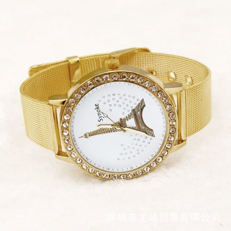 Outtop Women Ladies Crystal Tower Gold Stainless Steel Mesh Band Wrist Watch ()