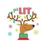 "Club Pack of 192 Reindeer Games ""Get Lit"" 2-Ply Disposable Paper Beverage Napkins 5"""