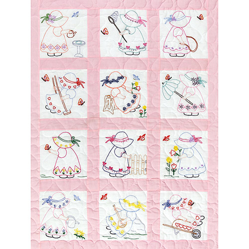 "Jack Dempsey Little Girls Nursery Quilt Blocks, 12Pk, 9"" x 9"""