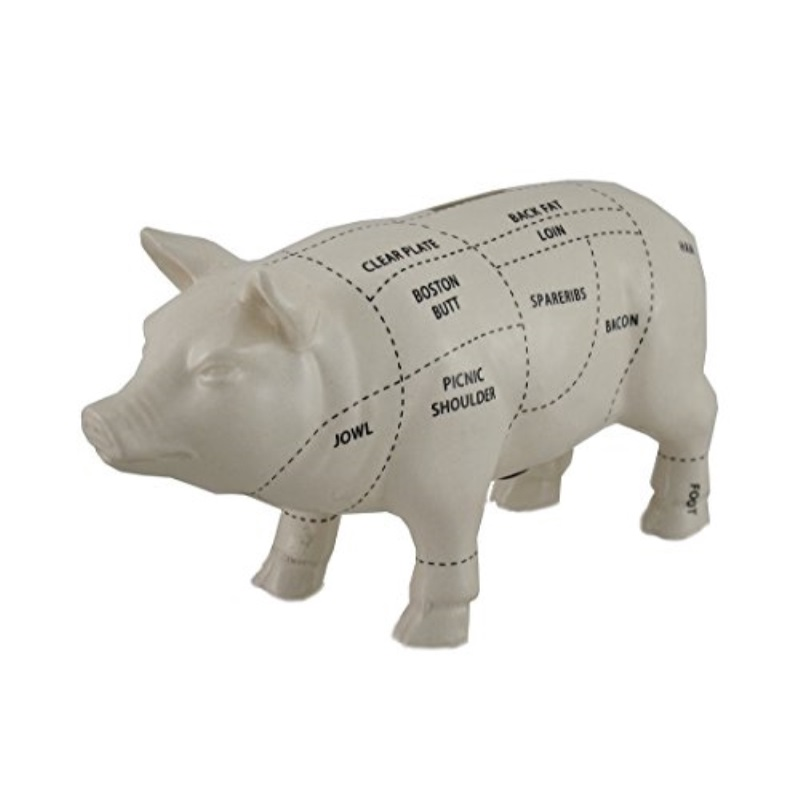 Zeckos Ceramic Toy Banks White Ceramic Pig Shaped Coin Bank Butcher Chart Piggy Bank 4 In. 7.5 X 4 X 2.5... by