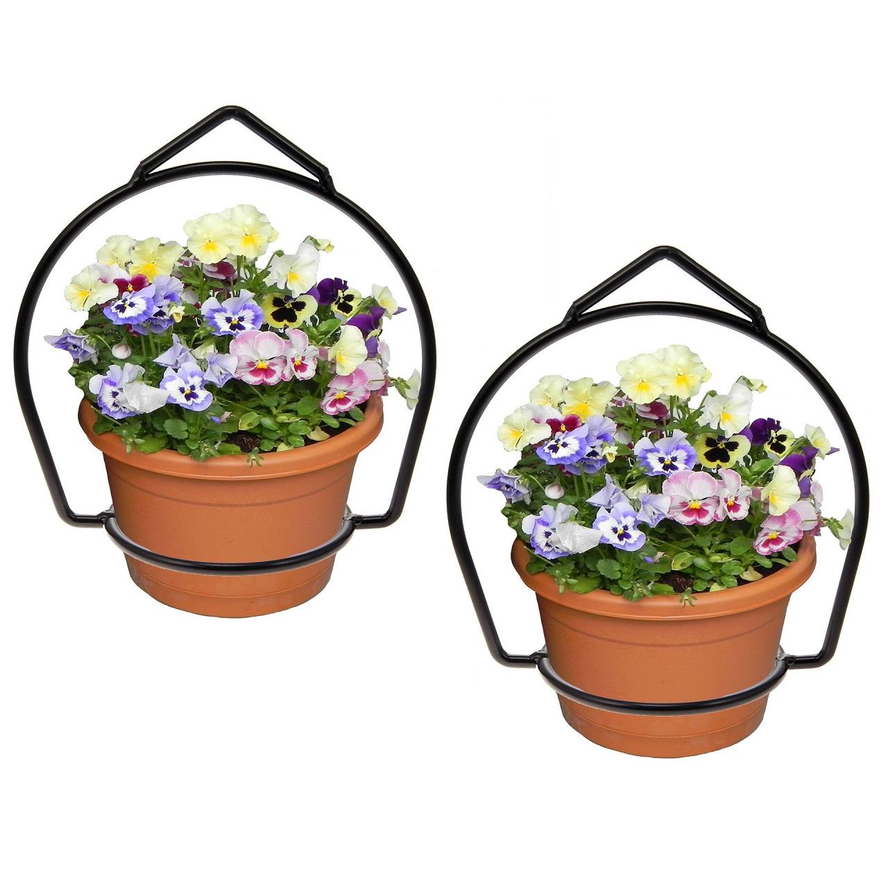 Brinkman Wrought Iron Flower Flower Pot Plant Hanger Ring Votive Holder Outdoor Hanging Basket