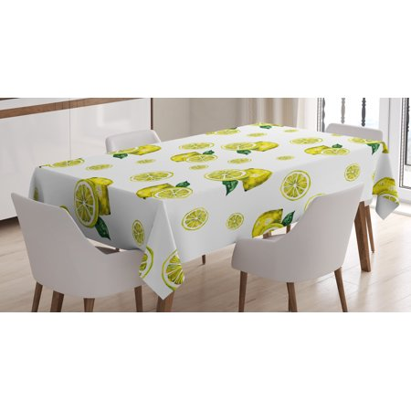 Lemon Tablecloth (Modern Tablecloth, Lemon Figures with Slices and Leaves Summer Season Fresh Fruit Watercolor, Rectangular Table Cover for Dining Room Kitchen, 52 X 70 Inches, Yellow Hunter Green, by Ambesonne)
