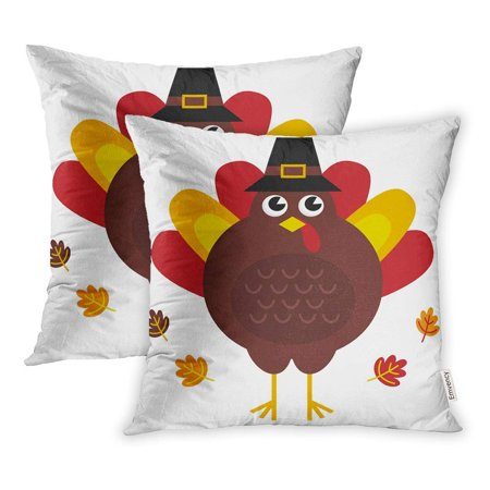 ARHOME Brown Clipart Cute Retro Thanksgiving Turkey Hat White Colorful Funny Clip Pillowcase Cushion Cover 18x18 inch, Set of 2