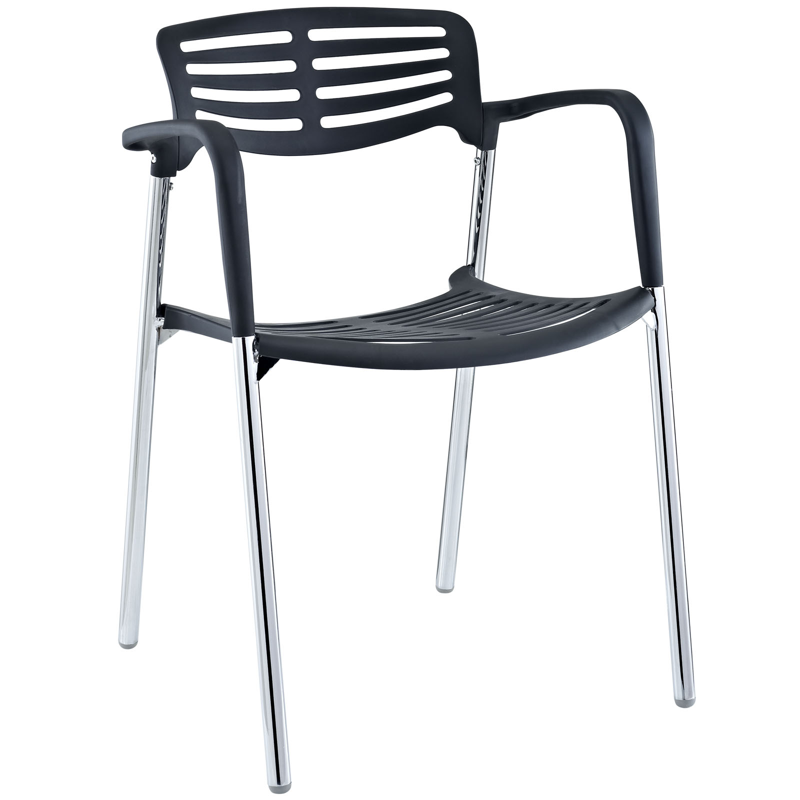 Modern Contemporary Kitchen Stacking Chair Black (Outdoor and Indoor)