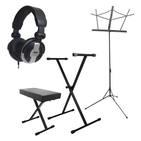On-Stage Stands Keyboard Stand and Bench Pak KPK6500 + CAD Audio MH110 Closed Back Studio Headphones Easy Fold Comfortable Fit + On Stage Sheet Music Stand w/ Detachable Bookplate and Bag