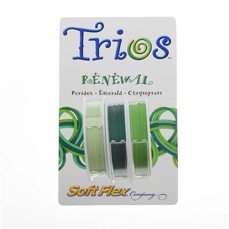 Trios Beading Wire (Soft Flex Beading Wire Trios Set Renewal Greens .019 Inch - 10 Feet Per)